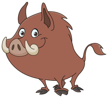Illustration pour Wild boar or wild pig cartoon - image libre de droit