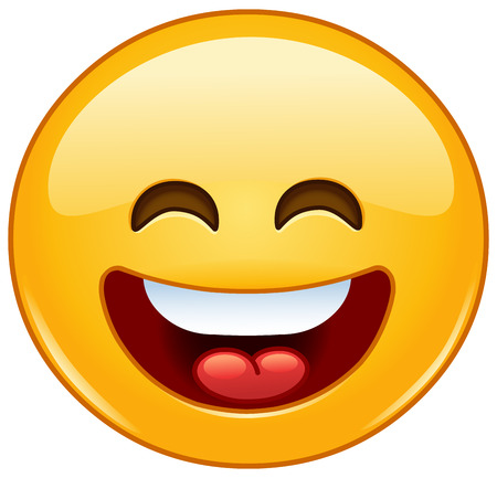 Illustration pour Smiling emoticon with open mouth and smiling eyes - image libre de droit