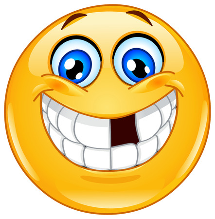 Illustrazione per Smiling emoticon with missing tooth - Immagini Royalty Free