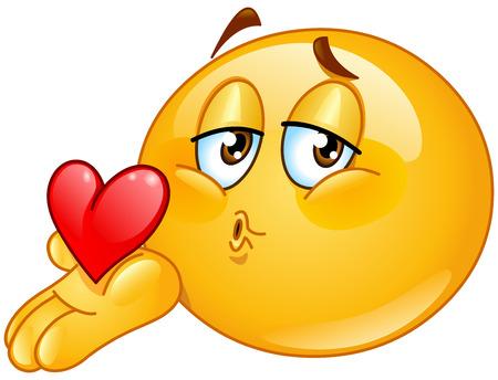 Ilustración de Male emoticon blowing a kiss - Imagen libre de derechos