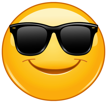 Illustration pour Smiling emoticon with sunglasses - image libre de droit
