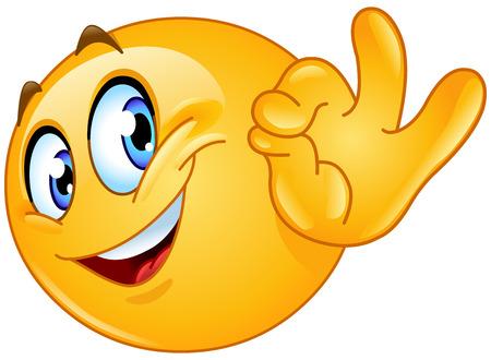 Illustrazione per Emoticon showing ok sign - Immagini Royalty Free