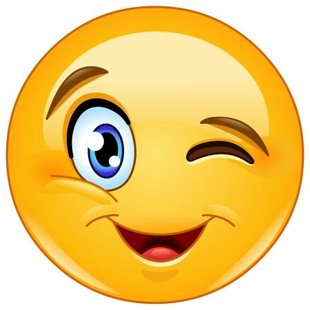 Illustrazione per Winking and smiling emoticon - Immagini Royalty Free