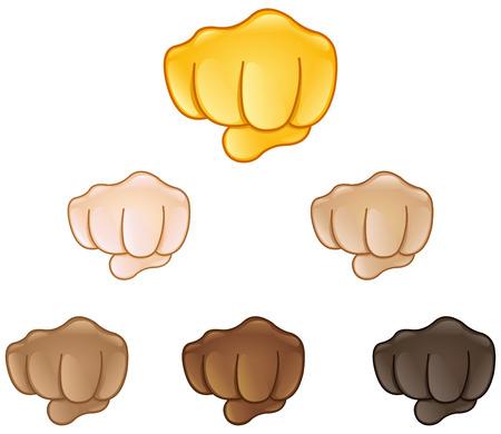 Illustration pour Fisted hand sign emoji set of various skin tones - image libre de droit