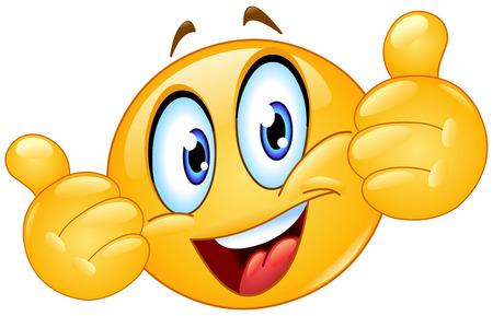 Illustration pour Emoticon showing thumbs up - image libre de droit