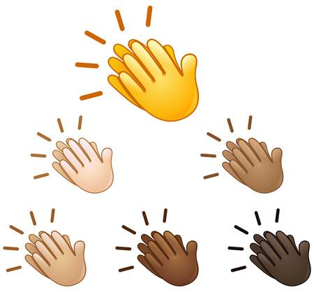 Illustration pour Clapping hands sign emoji set of various skin tones - image libre de droit