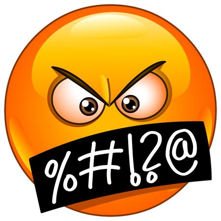 Ilustración de Angry emoticon face with grawlixes symbols on mouth - Imagen libre de derechos