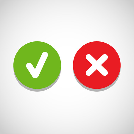Illustration pour Vector right and wrong check mark - image libre de droit