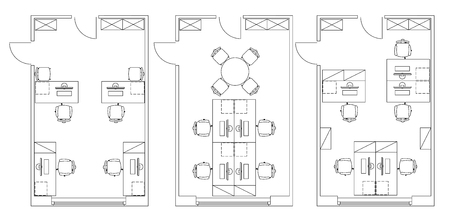 Ilustración de Standard furniture symbols used in architecture plans icons set, office planning icon set, graphic design elements. Small Office room - top view plans. - Imagen libre de derechos