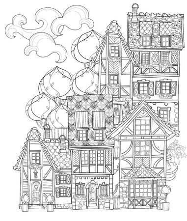 Illustration for Vector cute fairy tale town doodle.Vector line illustration.Sketch for postcard or print or coloring adult book. - Royalty Free Image