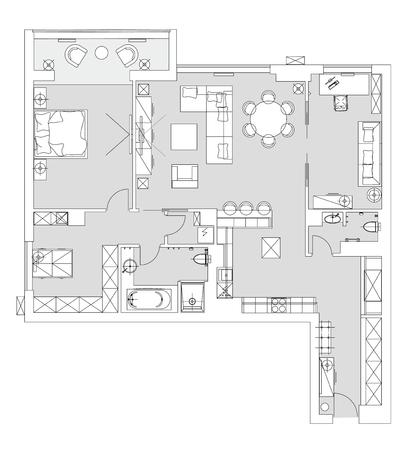 Illustration for Standard living room furniture symbols set - Royalty Free Image