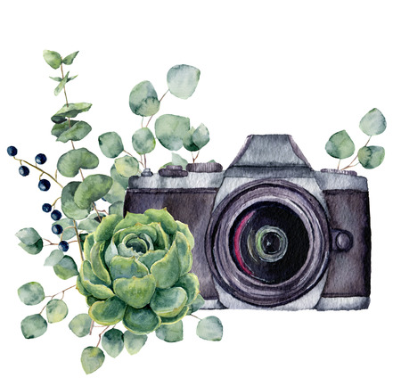 Foto de Watercolor photo label with succulent and eucalyptus. Hand drawn photo camera with floral design isolated on white background. For design, prints or background. - Imagen libre de derechos