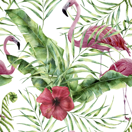 Photo pour Watercolor floral pattern with exotic flowers, leaves and flamingo. Hand painted ornament  with tropical plant: hibiscus, palm leaves and branches isolated on white background. For design or fabric - image libre de droit