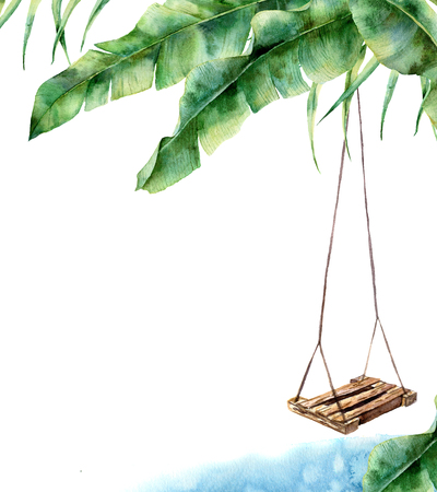 Photo pour Watercolor tropical card with swing. Hand painted porch swing on banana palm isolated on white background. Tropical print for design, print or background - image libre de droit