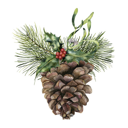 Photo pour Watercolor pine cone with Christmas decor. Hand painted pine cone with christmas tree branch, holly and mistletoe isolated on white background. Botanical clip art for design or print. Holiday plant. - image libre de droit