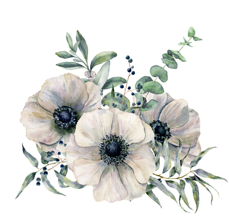 Photo for Watercolor white anemone bouquet. Hand painted flower, eucalyptus leaves and juniper isolated on white background. Illustration for design, fabric, print or background. - Royalty Free Image