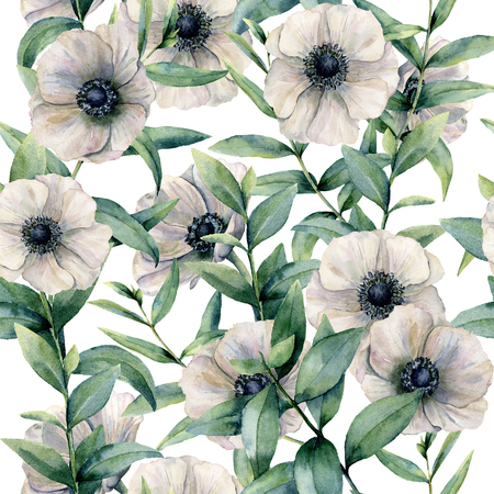 Foto de Watercolor seamless pattern with classic anemone. Hand painted white flower abd eucalyptus leaves isolated on white background. Illustration for design, fabric, print or background. - Imagen libre de derechos