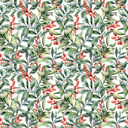 Foto de Watercolor pattern with winter plants. Hand painted snowberry leaves and branches, eucalyptus, barberry isolated on white background. Holiday floral illustration for fabric, wrapping, design. - Imagen libre de derechos