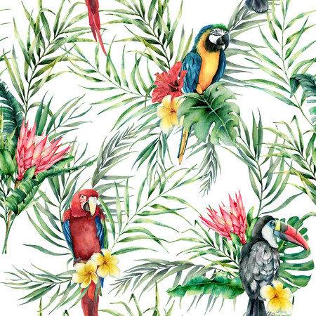 Foto de Watercolor parrot and toucan seamless pattern. Hand painted illustration with bird, protea and palm leaves isolated on white background. Wildlife illustration for design, print, fabric, background. - Imagen libre de derechos