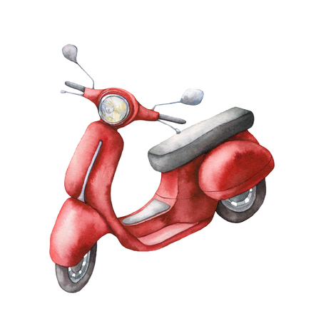 Photo pour Watercolor card with red scooter. Hand painted summer illustration isolated on white background. For design, prints or background. - image libre de droit