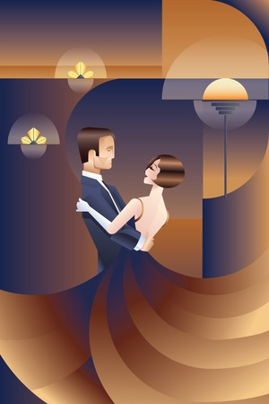 Illustration for Vintage Art Deco placard design with dancing couple - Royalty Free Image