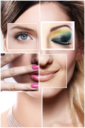 Creative beauty collage from different parts of face