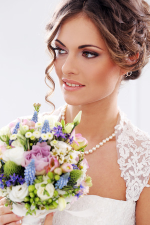 Photo for Wedding  Attractive bride with bouquet - Royalty Free Image