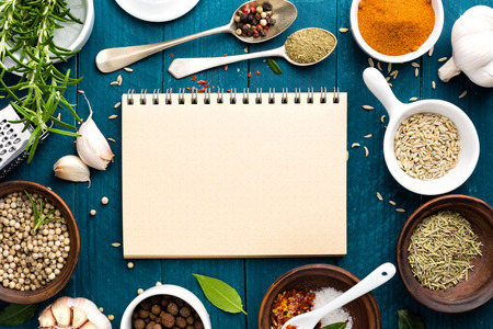 Photo for culinary background and recipe book with various spices on wooden table - Royalty Free Image