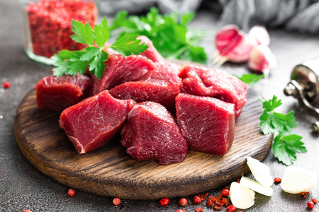 Photo for Raw beef meat. Fresh sliced beef sirloin - Royalty Free Image
