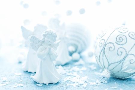 Foto de Christmas decorations on frosty background. Festive card with Christmas decorations - Imagen libre de derechos