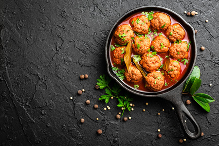 Photo for Beef meatballs in tomato sauce - Royalty Free Image