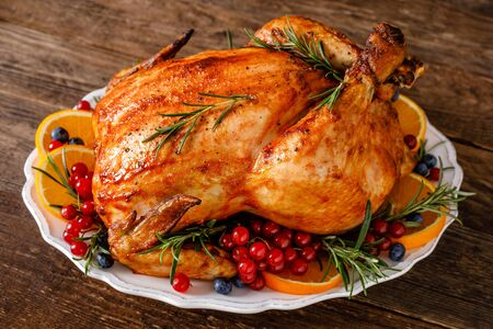 Photo for Christmas turkey. Traditional festive food for Christmas or Thanksgiving - Royalty Free Image