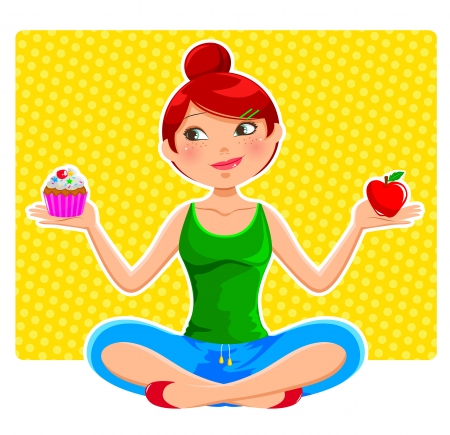 girl holding apple and ccupcake