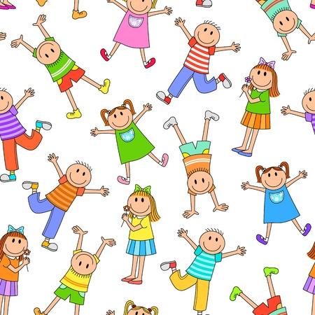 Illustration pour Seamless pattern with happy kids - image libre de droit
