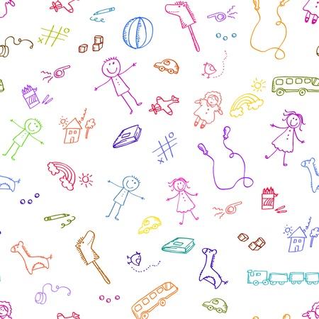 Illustration pour Seamless pattern with doodles of toys - image libre de droit