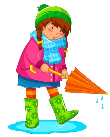 girl with umbrella standing in a puddle