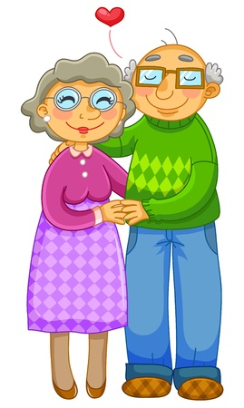 Illustration for old couple hugging lovingly  - Royalty Free Image