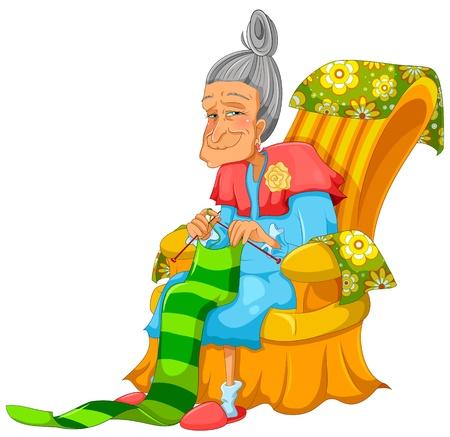 Ilustración de happy old lady knitting happily - Imagen libre de derechos