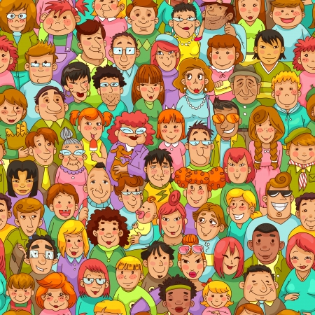 Illustration for seamless pattern with cartoon people - Royalty Free Image