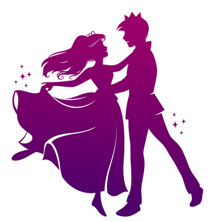 Illustration for silhouette of prince and princess dancing together - Royalty Free Image