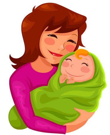 Illustration for happy young mother hugging her baby - Royalty Free Image