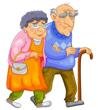 Illustration for old couple walking together - Royalty Free Image