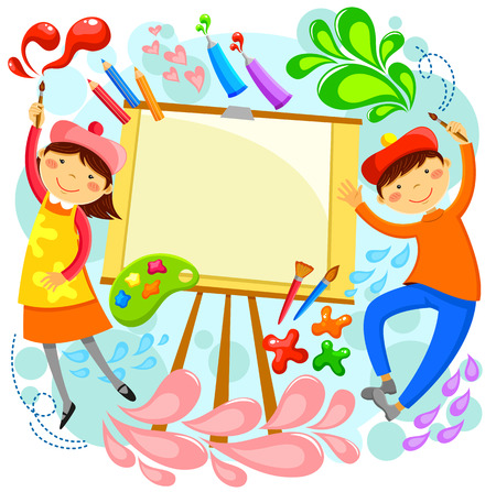 Illustration pour children painting around a blank canvas with space for text - image libre de droit