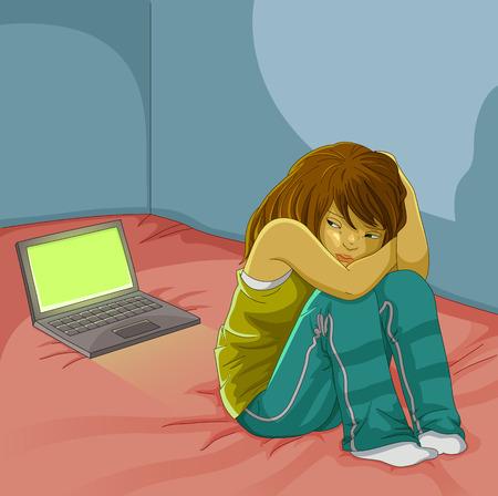 Ilustración de sad girl sitting alone next to her open laptop - Imagen libre de derechos