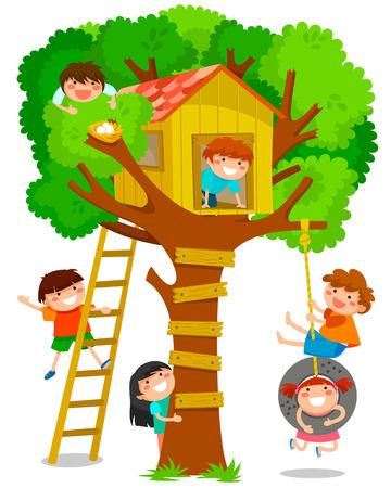 Ilustración de children playing in a tree house - Imagen libre de derechos