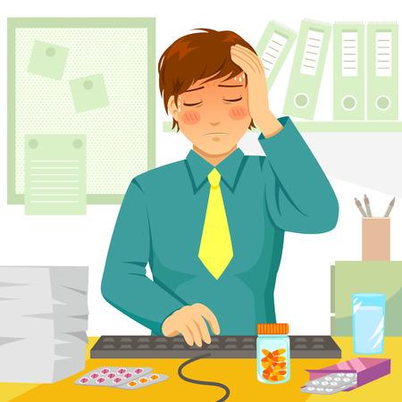 Illustration pour young man feeling ill at work - image libre de droit