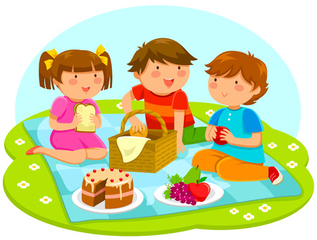 Illustration pour three cute kids having a picnic - image libre de droit