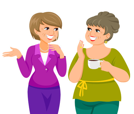 Foto für two mature women talking happily - Lizenzfreies Bild