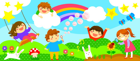 Illustration pour wide horizontal strip with happy kids playing in a fantasy world - image libre de droit