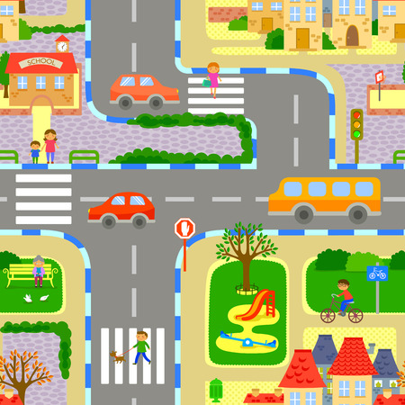 Ilustración de seamless image of a lively city - Imagen libre de derechos
